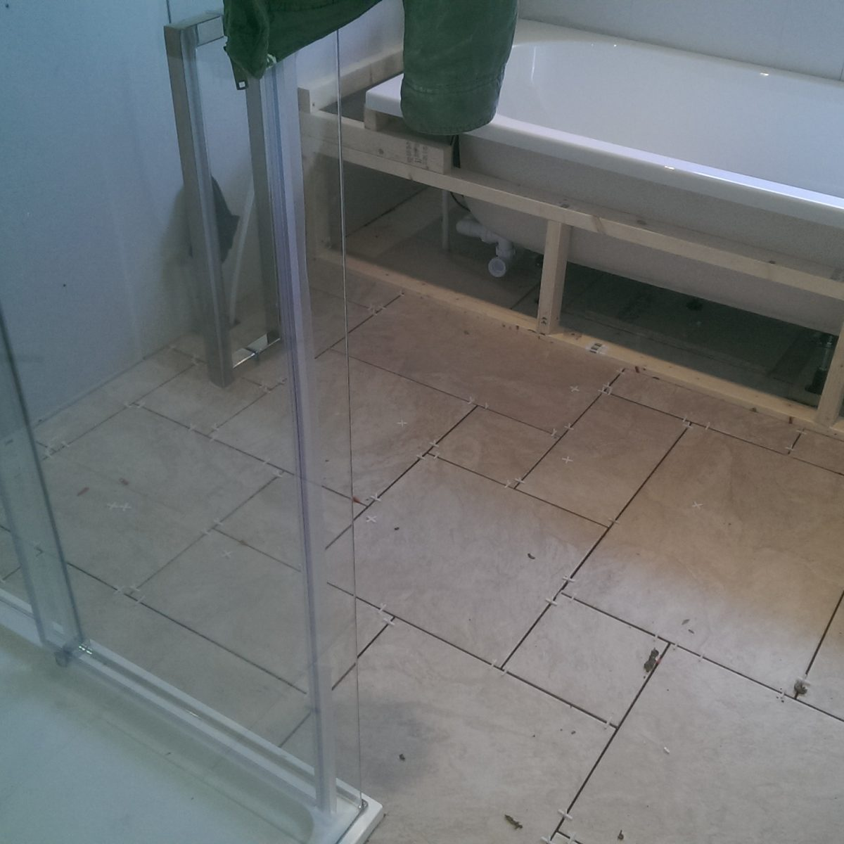 Bathroom floor tiling